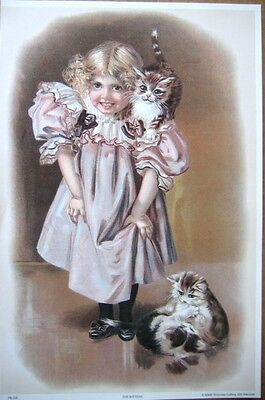 art print~THE KITTENS~Victorian happy Little Girl with cats vtg repro 9.5x14.5