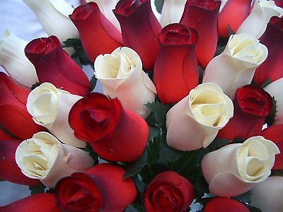 Wholesale Stock Clearance Sale Cream & Red Dark Tip Wooden Roses Job Lot Gift
