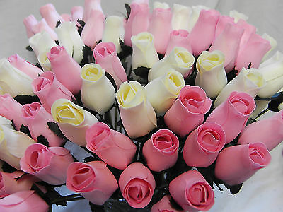 Wholesale Stock Clearance Flowers Cream & Baby Pink Wooden Roses Car Boot Joblot