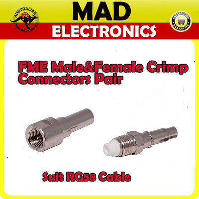 FME Male and Female Crimp Connectors Suit RG58/U Cable Pair Mobile Antenna RF