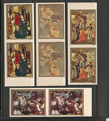 Dahomey #C195-198 MNH Imperforated Pairs - 1973 35fr to 200fr Paintings