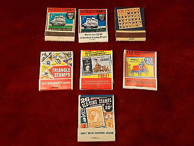 #24 of 27, LOT OF OLD VTG MATCHBOOKS, TRIANGLE, WORLDWIDE, BRITISH EMPIRE STAMPS