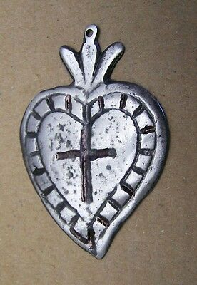 Tin/Silver Sacred Heart with Etched Cross Milagro Ex Voto