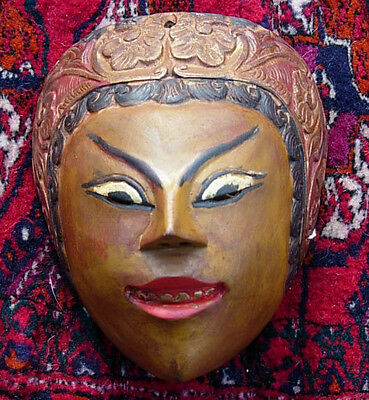 OLD very vintage Hand Carved Wooden Balinese Indonesian Art Mask Bali Indonesia