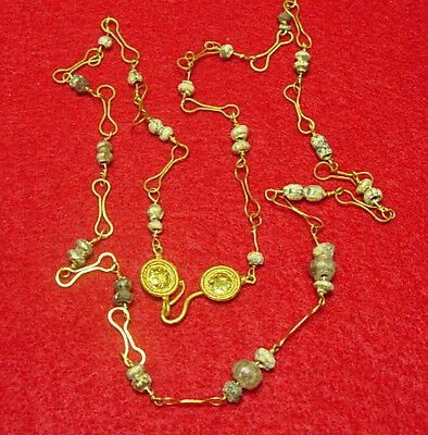 Ancient Roman Gold chain and Small glass beads