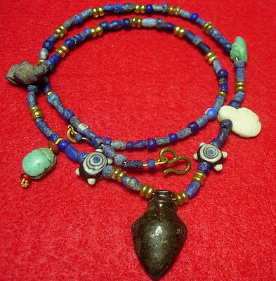 Ancient Egyptian amulets & lapis lazuly stone beads Gold foil sandwich beads