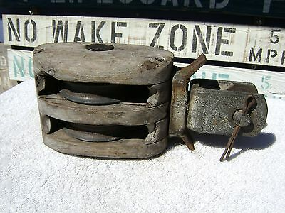Old Wood 7 Inch Swivel Double Pulley Block And Tackle Pully (#h)