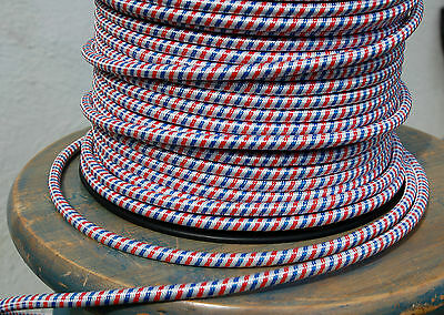 Red White & Blue Cloth Covered 3-Wire Round Cord, Lamp Pendant Light Vintage Fan