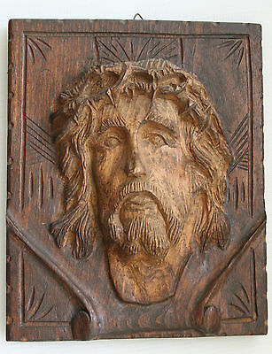 Wooden carved Jesus Christ Face Religious