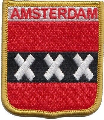 Amsterdam Netherlands City Flag Shield Embroidered Patch Badge