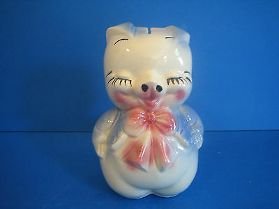 Eyelashes Vintage Pig Figural Piggy Bank Blue Pink Bow Tie Pottery Unmarked