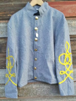 civil war confederate reenactor shell jacket with 3 braids 46