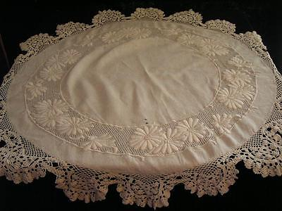 Arts & Crafts Natural Linen Table Round Center Cover Embroidery w/Ivory Lace