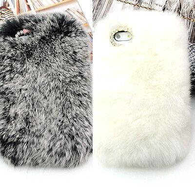 Luxury Hand Made Soft Warm Genuine Cony Hair Fur Case Cover for iPhone 4 4s 5 5s