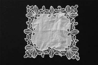 """Vintage White Victorian Hand Made Linen & Lace Large Handkerchief 11"""" X 10 1/2"""""""