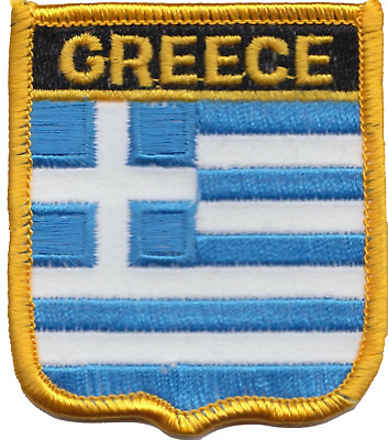 Greece Flag Shield Embroidered Patch Badge