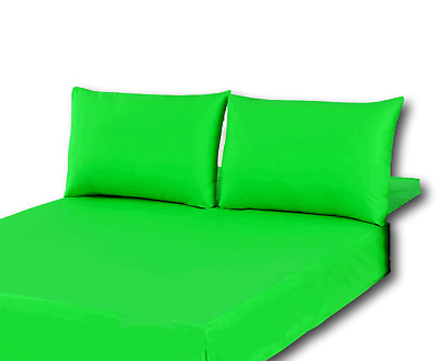 2082d06a9280 Tache 100% Cotton Solid Vibrant Neon Lime Green Deep Pocket Fitted Sheet  Only
