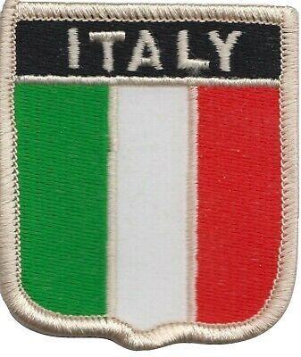 Italy Flag Shield Embroidered Patch Badge