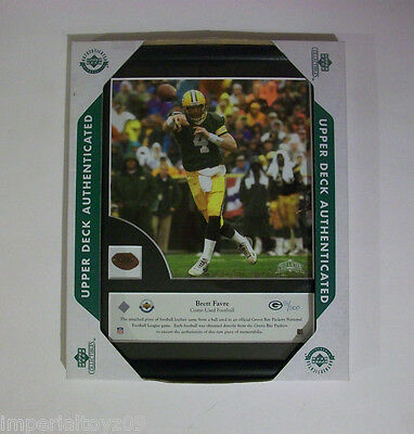 2002 UPPER DECK POTA BRETT FAVRE 8x10 WITH GAME USED FOOTBALL LEATHER 51/500