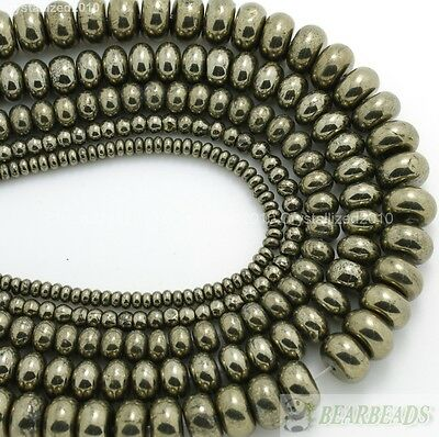 """Natural Iron Pyrite Gemstone Rondelle Spacer Beads 2mm 3mm 4mm 5mm 6mm 8mm 16"""""""
