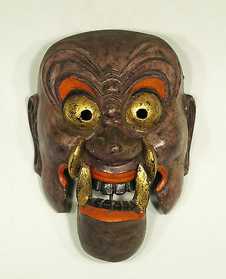 Antique Japanes Papier Mache Demon Oni  Mask