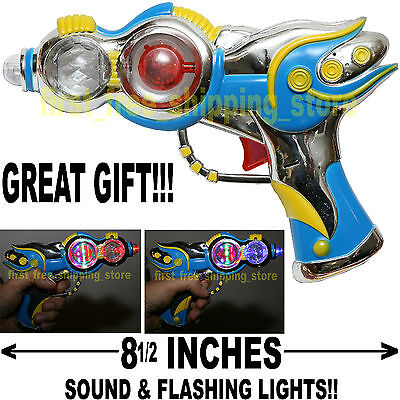 COWBOY SPACE SUPER GUN BLASTER PISTOL TOY KID BOY FLASHING LED AND SOUND EFFECT