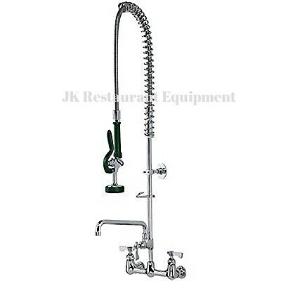 """New Commercial Heavy Duty Wall Mount Pre-Rinse Faucet w/12"""" add-on faucet"""