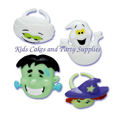 HALLOWEEN FACES Frankenstein, Mummy Witch Cupcake Rings Cake Topper Set of 24