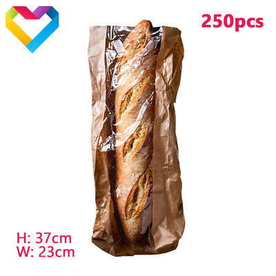 """PAPER FOOD BAGS WITH CELLOPHANE BREAD SANDWICH BAKERY LUNCH 250pcs H: 14.5"""" 37cm"""