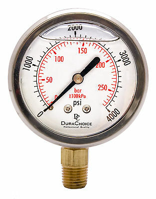 "2-1/2"" Oil Filled Pressure Gauge - SS/Br 1/4"" NPT Lower Mount 4000PSI"