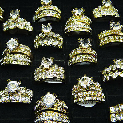 10pcs Wholesale Jewelry Cubic Zircon 2 in 1 Engagement Wedding Gold Women Rings