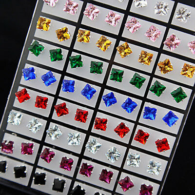 Fashion 72pc Cubic Zircon Stainless Steel Square Stud Earrings Wholesale Jewelry