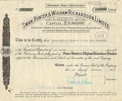 Swan Hunter & Wigham Richardson Limited   England shipbuilding stock certificate