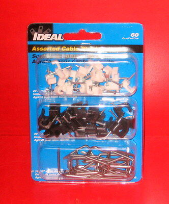 """Ideal Black White Metal Coaxial Cable Staples 1/4"""" & Smaller Cable"""