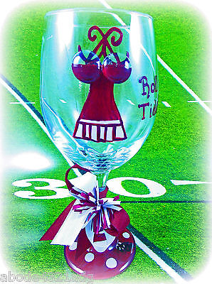 Collegiate Team Cheerleader Wine Glass Hand Painted  Fan Gift Football  Party