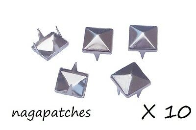 Lot de 10 rivets clous pyramid studs style mode punk / gothic en nickel DIY-001
