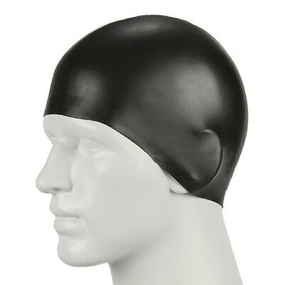 Durable Stylish Sporty Latex Swimming Cap Swim Hat Black For Outdoor Swimming