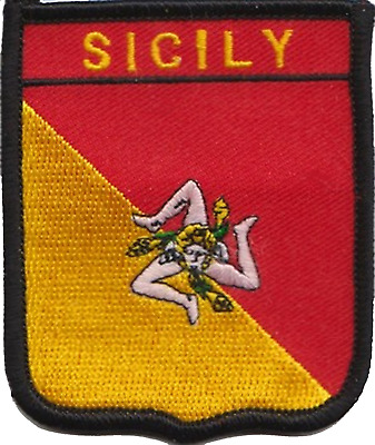 Italy Sicily Region Flag Shield Embroidered Patch Badge