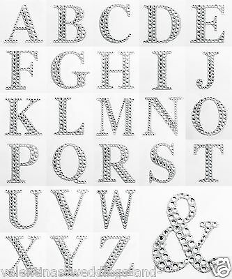 Large 5.5cm Letters Diamante Self Adhesive Post Box Favour Embellishment Craft
