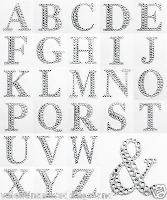 Large 5cm Diamante Glitter Letters Numbers Heart - Self Adhesive Craft Stickers