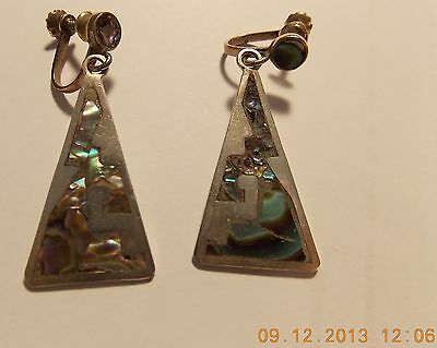 vintage signed CARLOS  174 TAXCO MEXICO abalone dangling screw back earrings