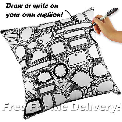 SCRIBBLE IT WHITE BLACK KIDS TEENS CUSHION RRP $109 40x40cm **FREE DELIVERY**