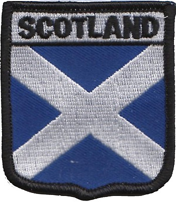 Scotland Saltire with Happy face Oblong Embroidered Patch