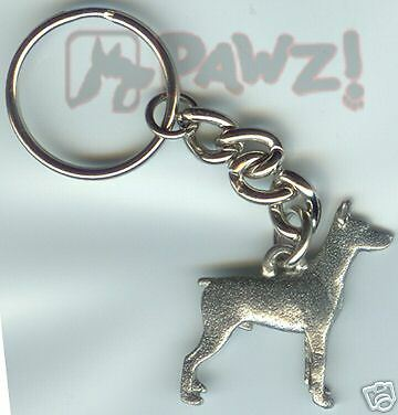 DOBERMAN Dog Fine Pewter Keychain Key Chain Ring NEW