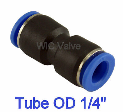 "5pcs Pneumatic Straight Union Push In To Connect Fitting Tube OD 1/4"" One Touch"