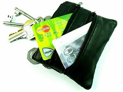 UNISEX SOFT BLACK LEATHER 4 ZIP COIN POUCH PURSE WALLET CREDIT CARD HOLDER