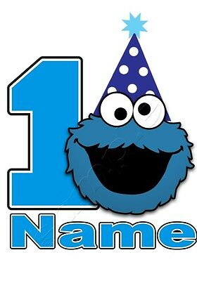 IRON ON TRANSFER PERSONALISED birthday ANY NAME/NUMBER COOKIE MONSTER #2 PARTY