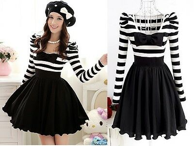 Cute Sweet Japan Dolly Gothic Punk Lolita DOLLY BOW Stripes Onepiece Dress