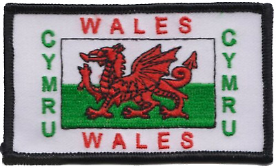 Wales Welsh Dragon Cymru Flag Rectangular Embroidered Patch Badge