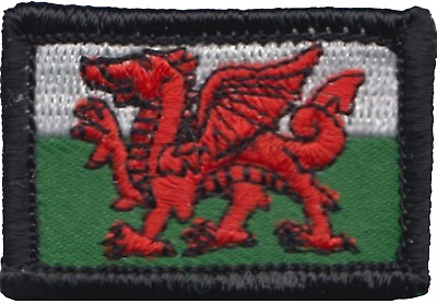 Wales Welsh Dragon Flag Rectangular TINY Embroidered Patch Badge